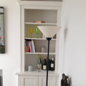 fitted white cabinet with display shelving